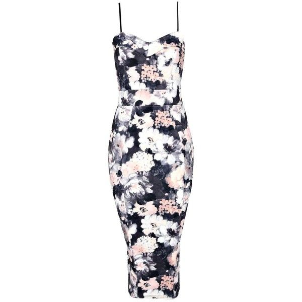 Boohoo Edie Cami Sweetheart Floral Bodycon Dress found on Polyvore