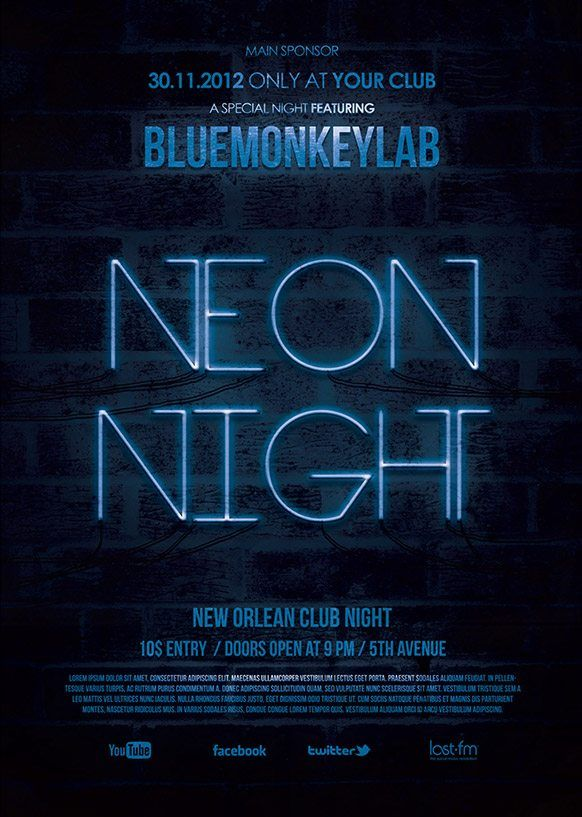 Free Neon Night Flyer and Poster Template