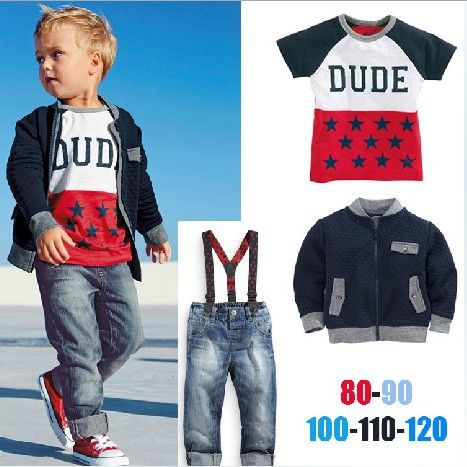 Autumn baby clothes wholesale price fashion three-piece sets boys clothing gentleman sets(M20678A)