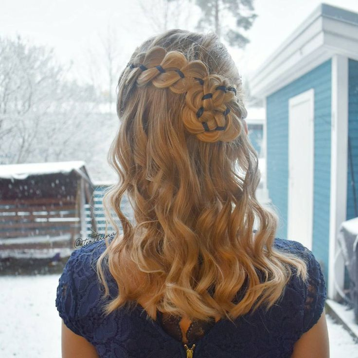 Braids & Hair by @terttiina Instagram: Four strand ribbon braid into a braided flower with some curls