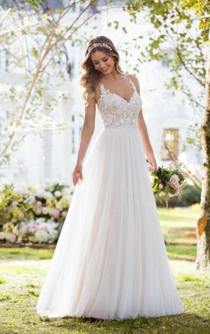 alternative Hochzeitskleider, ein mit Spitzenblumen versehenes Oberteil, langer …
