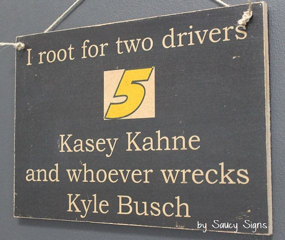 Kasey Kahne wrecks Kyle Busch Nascar Drivers Sign
