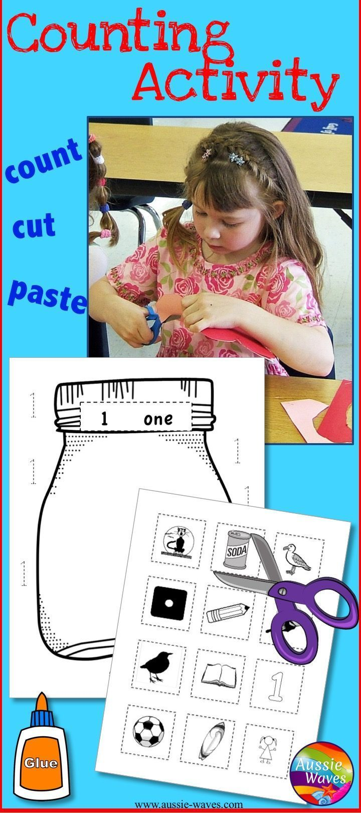 PRINT and Go counting activity for Math Centers. Counting Numbers 1-10. Count, cut, sort, paste, LEARN!