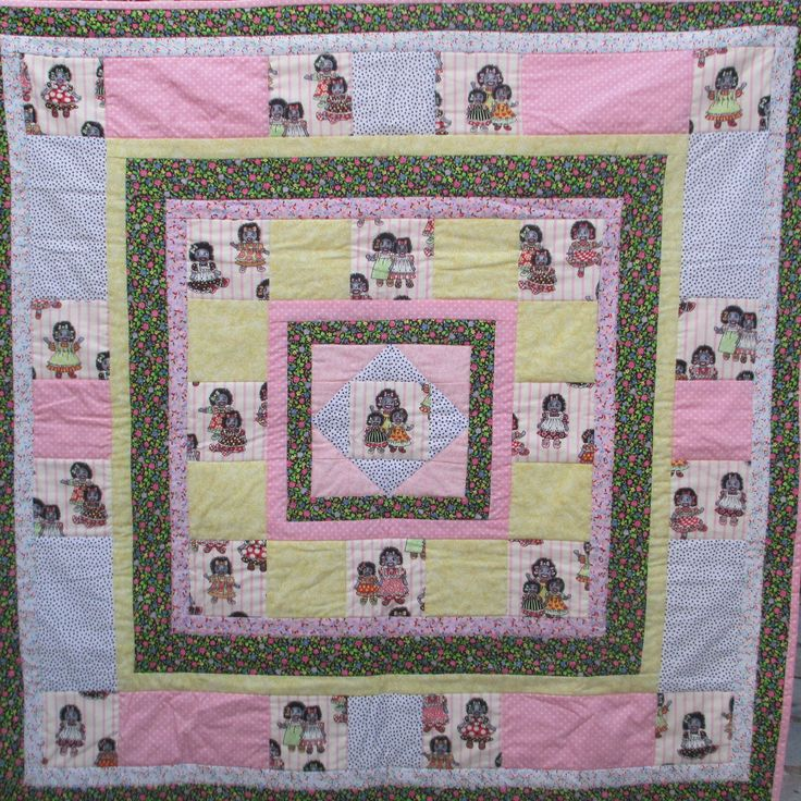 "Hand-made quilt, 100% cotton, scally wags, golly wogs, 41""x41"", one-of-a-kind, rag doll, patchwork quilt, girl birthday present, baby quilt by LittleLarkClothing on Etsy"