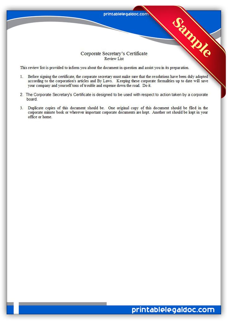 Free Printable Corporate Secretaryu0027s Certificate Sample Printable - new secretary certificate sample