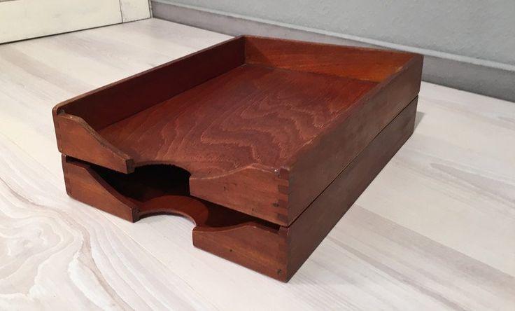 Vintage Aufbewahrung - 2 Ablagekörbe aus Holz *Mid Century*danish - ein Designerstück von Mid-Century-Frankfurt bei DaWanda