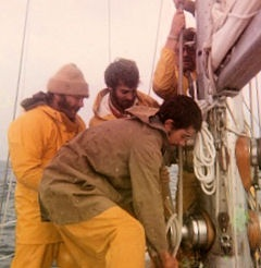 Time to change the sail set.  In weather this strong, 3 crew members are needed.