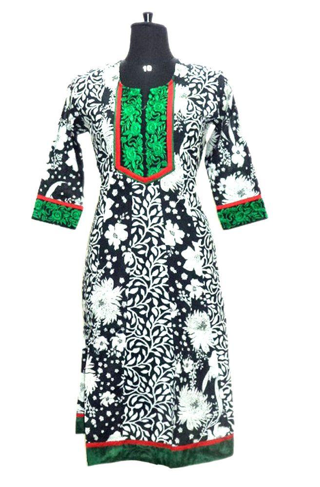 designer ethnic kurti tunic kurta cotton M embroidered top blouse printed dress #Nisha #IndianKurti