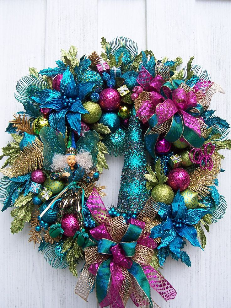 Turquoise lime green and hot pink christmas wreath with fairy - Pink and blue christmas tree ...