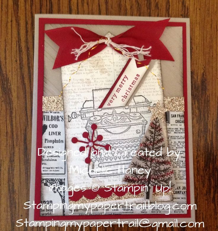 Vintage Christmas Card Using Stampin' Up! Tap Tap Tap stamp set and Festival of Trees.