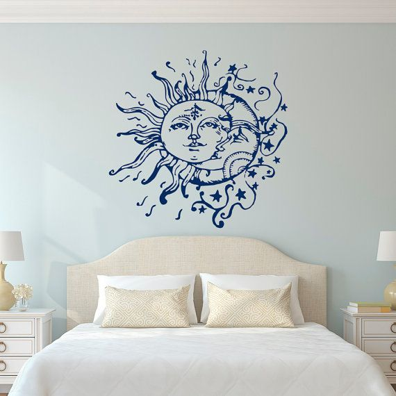 Sun Moon Stars Wall Decals For Bedroom Sun and by FabWallDecals