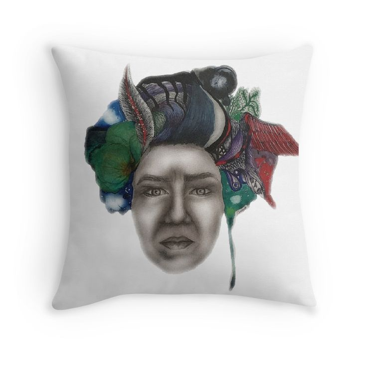 On My Mind Artwork by me printed on home decor pillow. High quality print.  #art #pillow #print #decor #home #artist #artwork #drawing #gift #idea #colourful