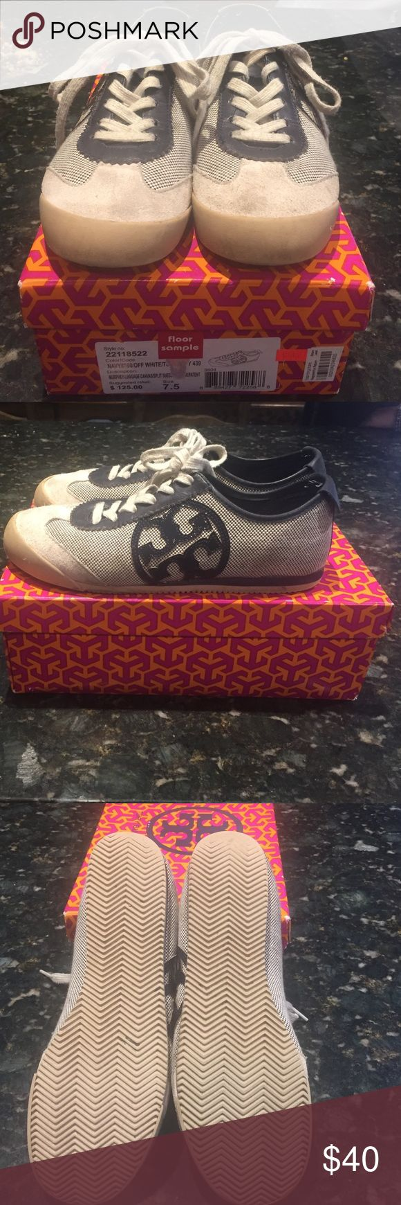Tory Burch canvas/split suede shoe These comfortable sneaker shoe you will love to wear for hours on end. In good condition.  Suede in front has some markings as does the canvas Tory Burch Shoes Sneakers