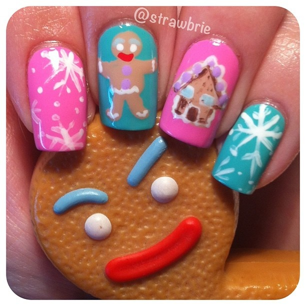 .Hannah Barber GINGY NAILS!!! I love gingy from shrek