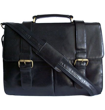 Woodland Leather Retro Black Leather Messenger Briefcase