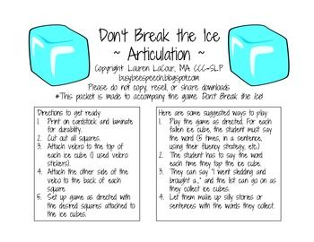 Do Not Break the Ice Blocks Articulation. Repinned by SOS Inc. Resources pinterest.com/sostherapy/.