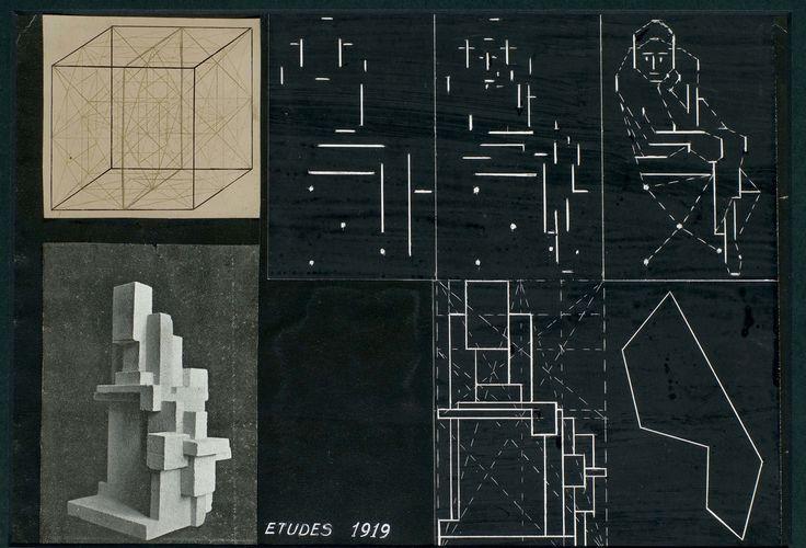 """GEORGES VANTONGERLOO (1886-1965) DEUX COLLAGES, ENTRE 1919 ET 1927 Photographies et projets d'étude, rehaussés à la gouache et contrecollés sur papier Le plus grand collage : 19,5 x 25,5 cm. (7 5/8 x 10 in.) Chaque collage titré et daté respectivement 'RAPPORT des VOLUMES 1916.1919', 'RAPPORT des VOLUMES """"ELLIPSODE"""" 1926., """"CONE"""" 1927.', 'ETUDE 1919', '1920, 1925, salle à manger. 1926., 1919., écritoire 1925.' ; trois photographies numérotées"""