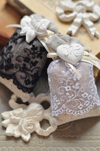 lace covered burlap sachets