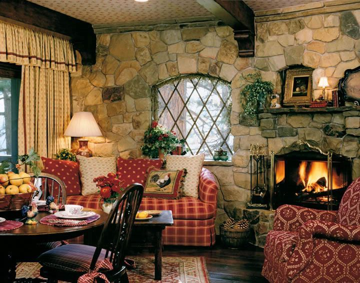 * I love the leaded window and the stone wall