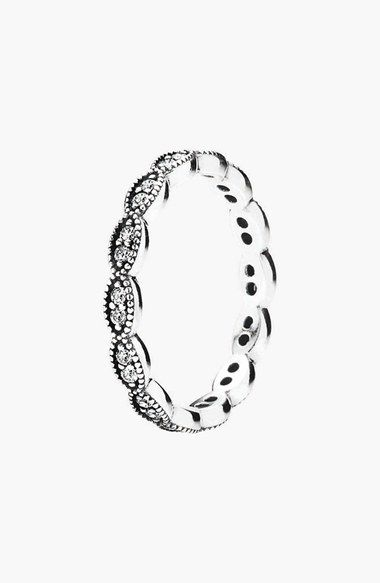 Free shipping and returns on PANDORA 'Sparkling Leaves' Band Ring at Nordstrom.com. A scalloped ring band is embossed and studded with crystals to optimize light reflection.