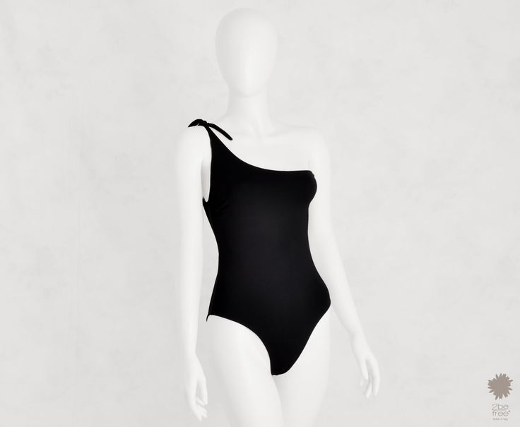 Amalfi Nero - One-piece asymmetrical swimsuit in microfiber, doubled solid color