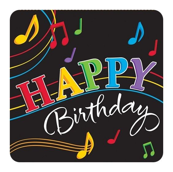 Dancing Music Notes Happy Birthday Luncheon Napkins|Fast Shipping|16 per package…