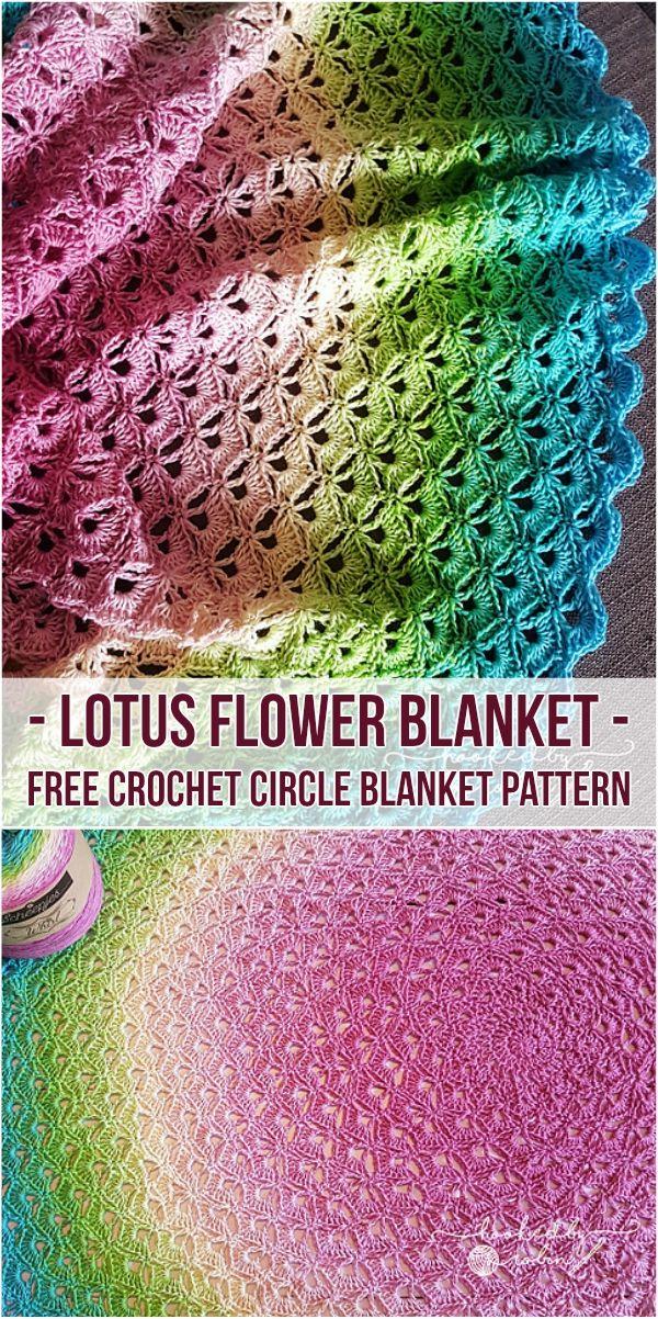 Lotus Flower Blanket - Free Crochet Circle Blanket Pattern Follow free pattern and visit video tutorial site! #crochet #freepattern #crochetlove #babyblanket