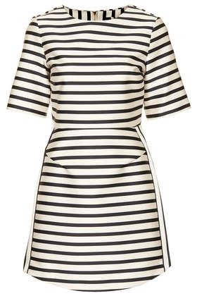 Resort style - Topshop black and white satin stripe A-line dress