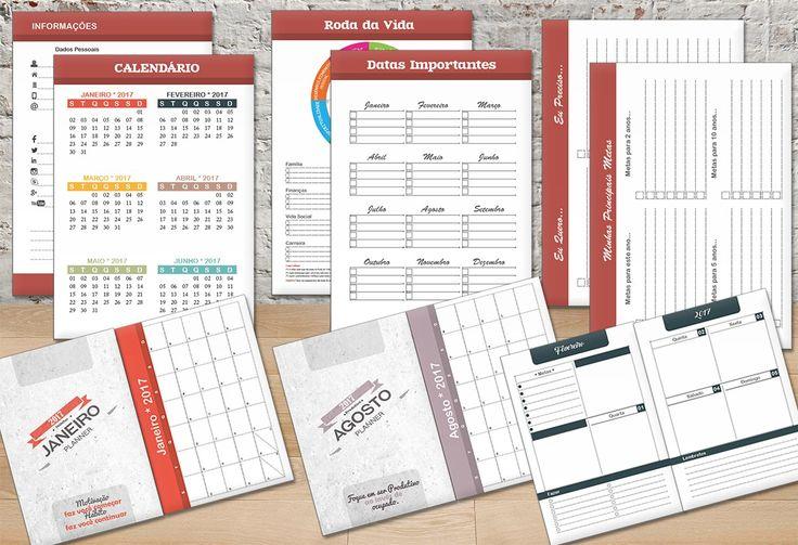 Planner 2017 com cada mês no ano com uma cor diferente, calendário anual e calendário mensal antes de cada mês. Páginas especiais como: Roda da Vida, datas importantes, eu quero, eu preciso e metas.