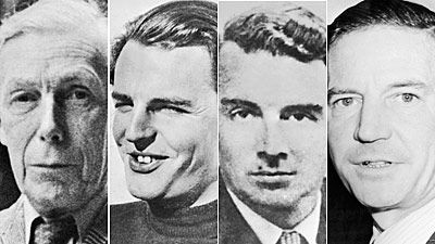 The Cambridge Five, -- Brits that passed information onto the Soviet Union during WWII and quite possibly up to 1950., Kim Philby, Donald Duart Maclean, Guy Burgess, Anthony Blunt