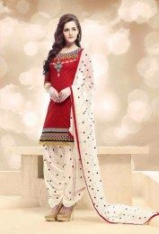 Red Color gorgeous Unstitched Banarasi Jacquard Patiala Suit With Beautiful Embroidery Work