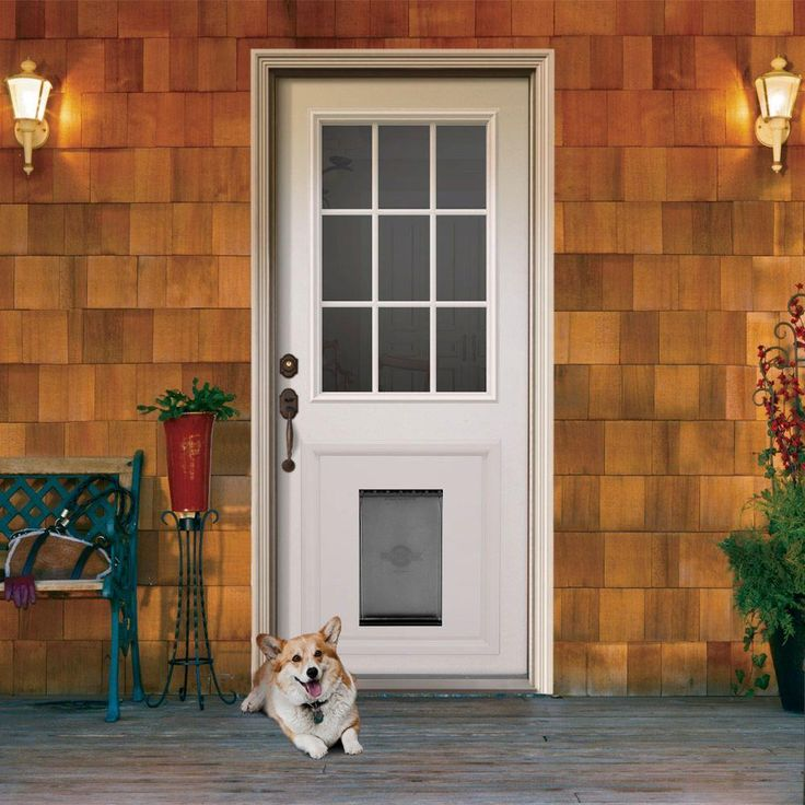 Jeld Wen 9 Lite Primed White Steel Prehung Front Door With Medium Pet Door And Brickmold