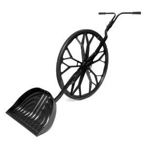 Snow Shovel With Wheel!  http://blog.wickerparadise.com/post/140760650798/snow-shovel-with-wheel