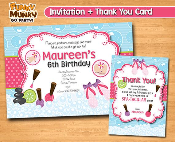 Spa Party Birthday Invitation Day Spa Party by funkymunkygoparty