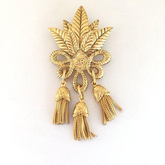 Sonia Rykiel SR Brooch in Gold Brass 0zeiJ
