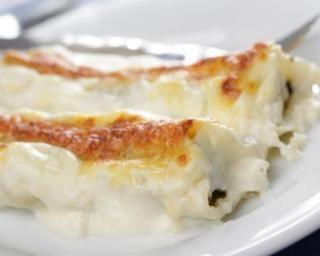 Cannellonis farcis au veau, poireaux et jambon : http://www.fourchette-et-bikini.fr/recettes/recettes-minceur/cannellonis-farcis-au-veau-poireaux-et-jambon.html