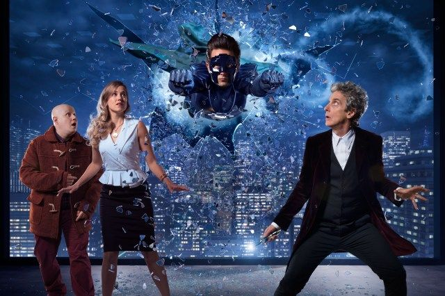 Doctor Who Christmas Special 2016 - TX: n/a - Episode: The Return of Doctor Mysterio (No. n/a) - Picture Shows:  Nardole (MATT LUCAS), Lucy Fletcher (CHARITY WAKEFIELD), The Ghost (JUSTIN CHATWIN), Doctor Who (PETER CAPALDI) - (C) BBC - Photographer: Ray Burmiston