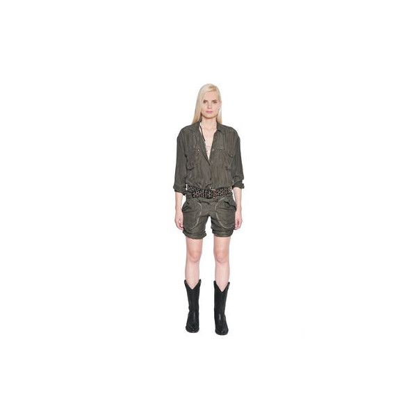 Shop Faith Connexion Short Washed Silk Cargo Jumpsuit in MILITARY... (68,275 INR) ❤ liked on Polyvore featuring jumpsuits, olive jumpsuit, short jumpsuits, military green jumpsuit, white jump suit and olive green jumpsuit