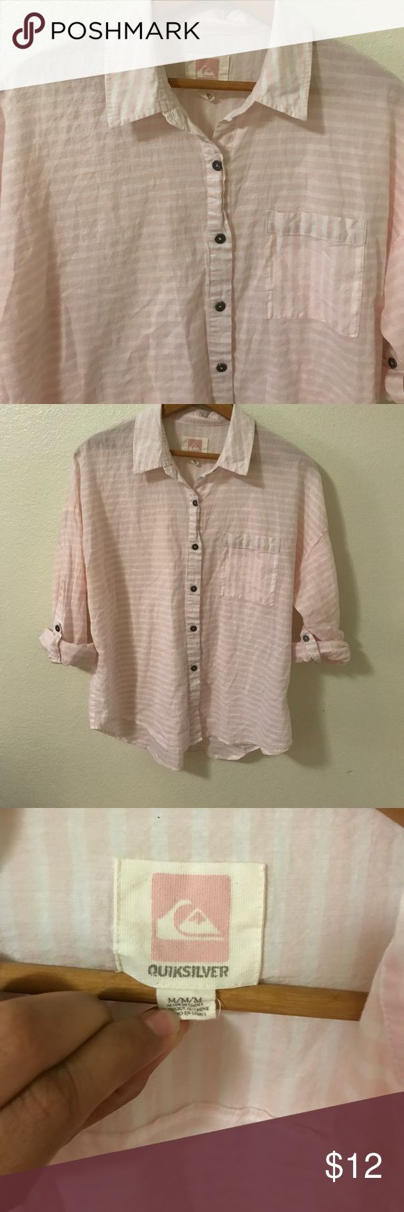 Pink and white 100% cotton Quicksilver woman's top Pink and White striped Woman's  top size M by Quicksilver . 100% cotton. Approximately 23 1/2 inches long and bust is approximately 23 inches . Quiksilver Tops Button Down Shirts