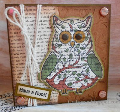 An owl handmade cards made using stamps from Nina Crafts/ Dimension Stamps.