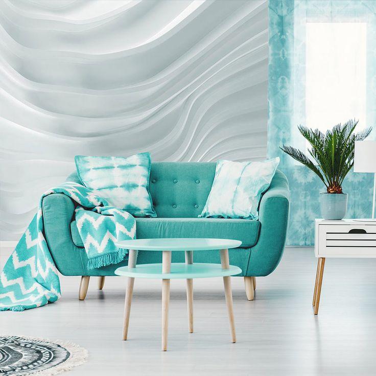 """Fototapete """"Waving White"""" ⋐ ⋑ Vergrößern Sie Ihr Wohnzimmer mit dieser 3D Fototapete! Ein optischer Effekt garantiert! ⋐ ⋑"""