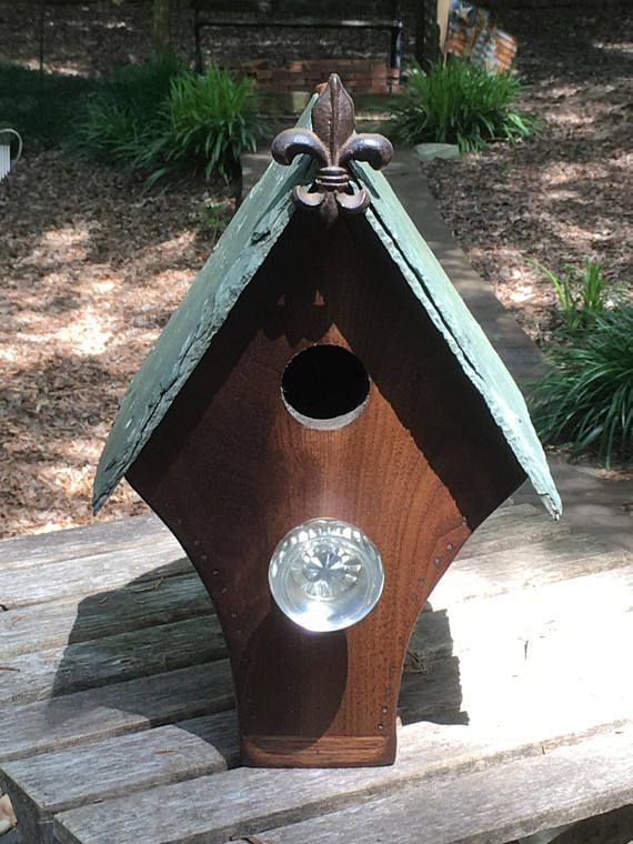 The Garden District Solid Repurposed Walnut House With Reclaimed Slate Roof Copper Ridge With Fleur De Lys At Gable Antique Door Bird House Garden District