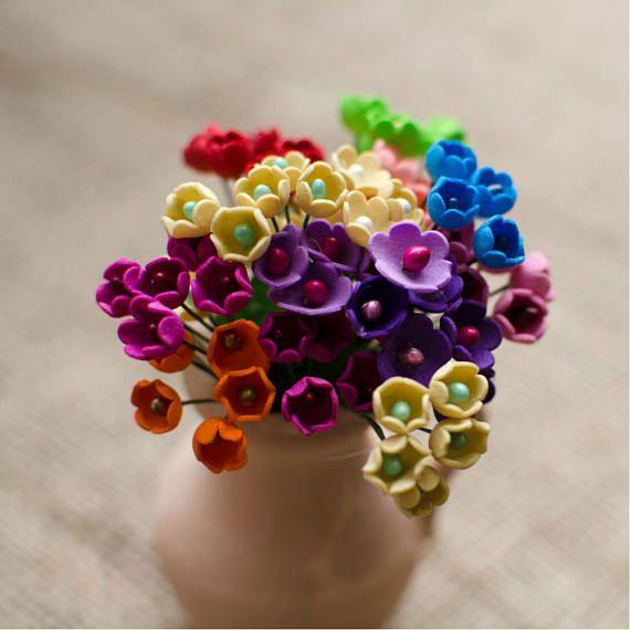 Mini Foam Flowers 6 pcs Little Flower Jewelery making Supplies