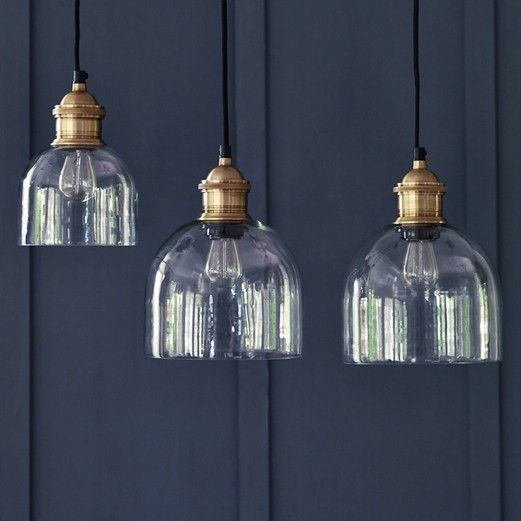 Flori Glass Pendant, Brass.  Galley pendant light