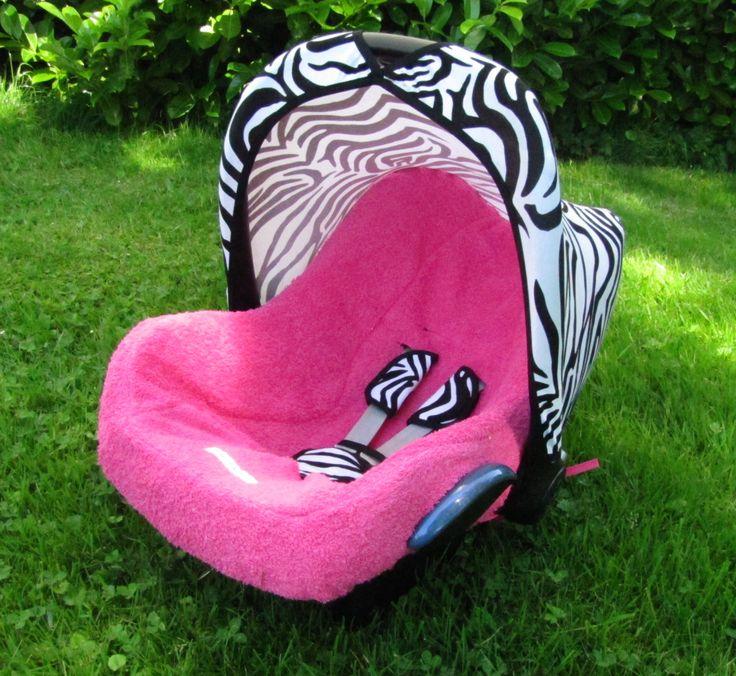 Maxi Cosi hoes sonnenverdeck kap bezug badstof zomer zonnekap autostoel pimpen DIY carseat cover http://www.stoelsprookjes.nl/a-37385001/bekleding-sets/roze-zebra-combi/