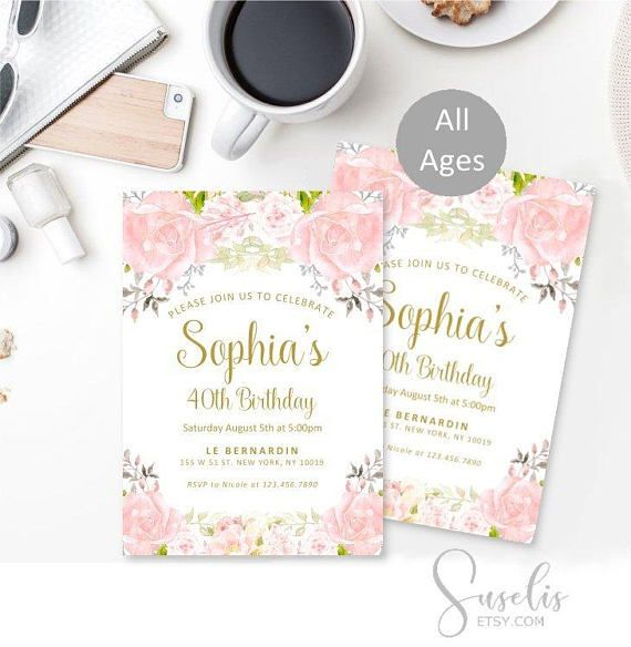 40th Birthday Invitation 40th Watercolor Flowers Gold Elegant