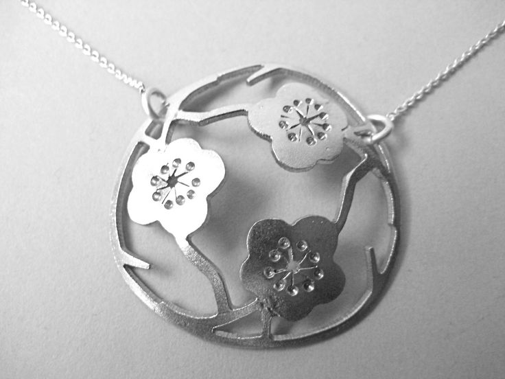 Small Sterling Silver 3  Sakura pendant by CeebWassermann on Etsy https://www.etsy.com/au/listing/56302981/small-sterling-silver-3-sakura-pendant