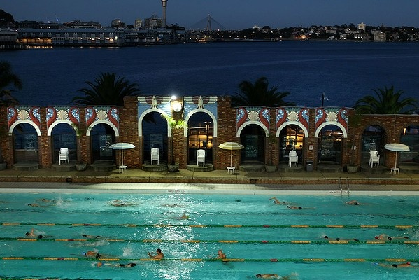 Early morning swimmers do laps in the North Sydney Pool. Photo: Kate Geraghty