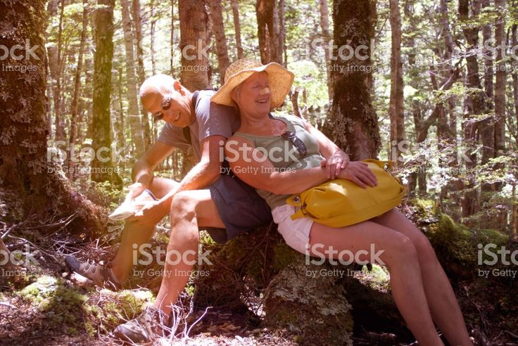 Senior Man and Woman in Forest, Summer royalty-free stock photo