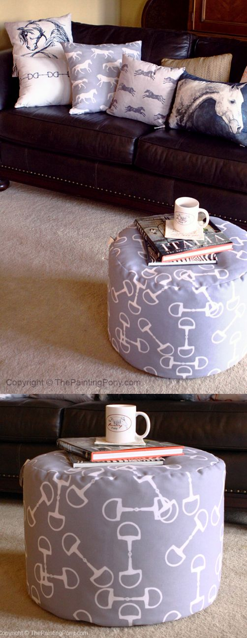 Equestrian home decor - classic gray snaffle horse bit pattern ottoman pouf for the living room or bedroom. Perfect for the horse lover. Love the horse throw pillows too!